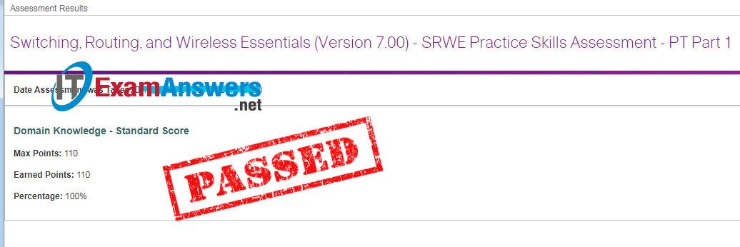 CCNA 2: SRWE Practice PT Skills Assessment (PTSA) – Part 1 Answers