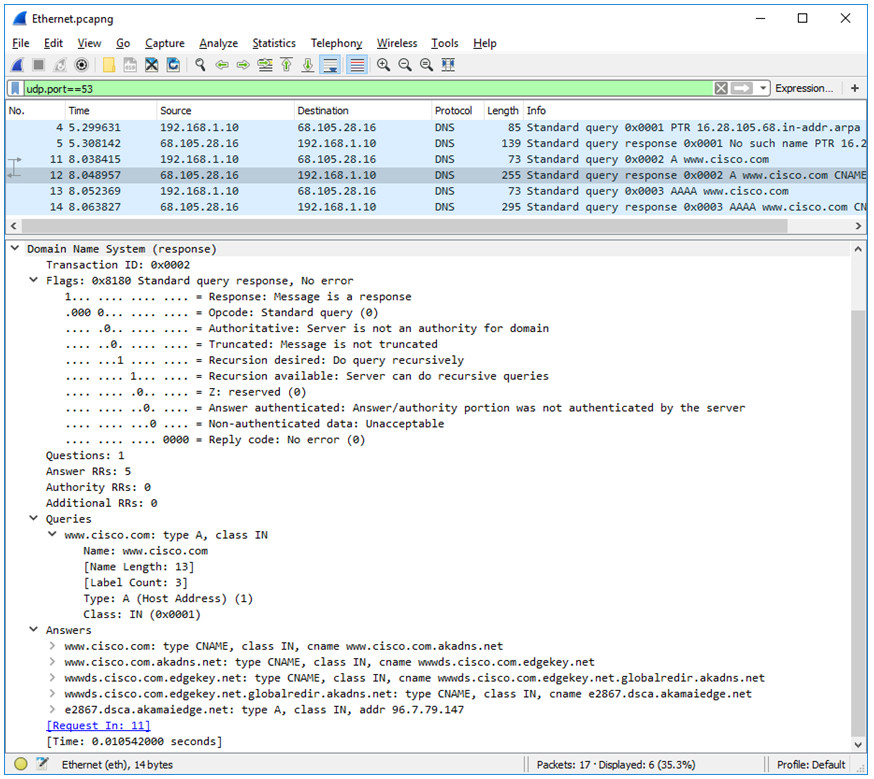3.8.8 Lab – Explore DNS Traffic (Answers)